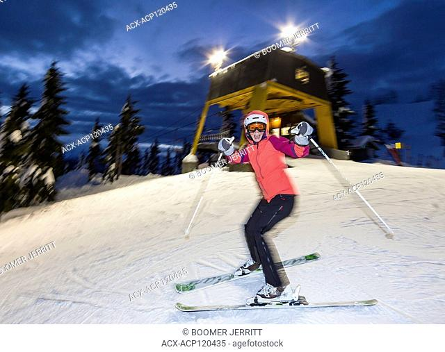 Skiers and snowboarders enjoy the experience and extended hours that night skiing provides at Mt. washington ski resort. Mt