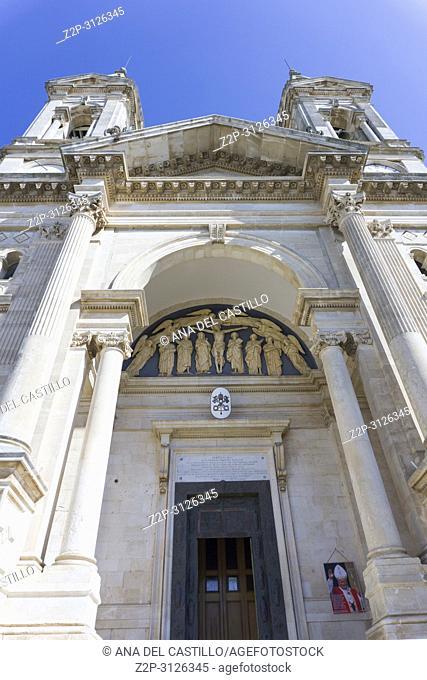 Alberobello in Bari Puglia Italy on July 14, 2018. Parrocchia Santuario - Basilica S. S. Cosma E Damiano the parish church
