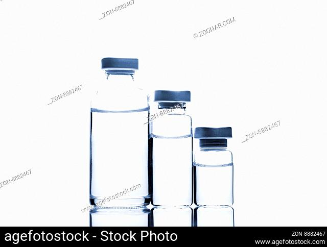 Glass Medicine Vials isolated on white background