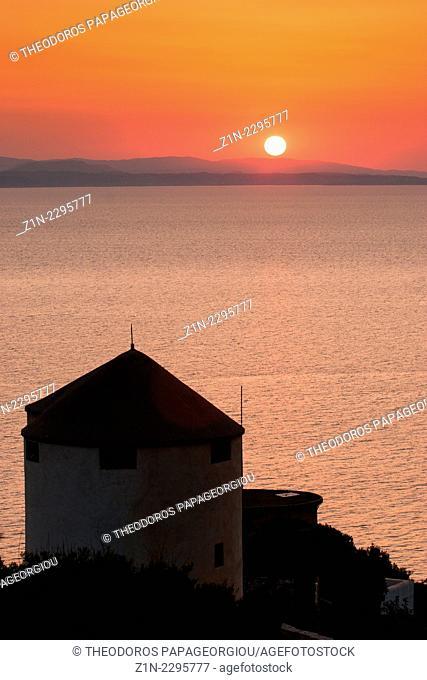 Restored windmills at Tyros town. Arcadia, Peloponnese, Greece