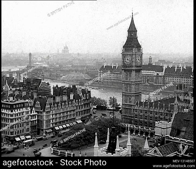 A View of the Elizabeth Tower Containing Big Ben, with the River Thames and County Hall Beyond and St Paul's Visible in the Far Distance - London