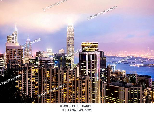 Skyline at dusk, Hong Kong, China