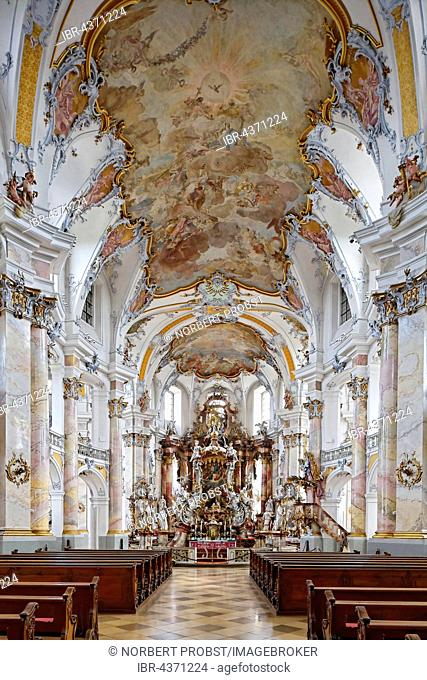 Nave with chancel and frescoed ceilings, baroque pilgrimage church, Basilica of the Fourteen Holy Helpers, Bad Staffelstein, Upper Franconia, Franconia, Bavaria