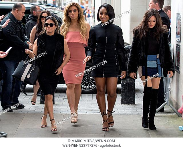 Fifth Harmony pictured arriving at the Radio 1 studios Featuring: Fifth Harmony Where: London, United Kingdom When: 07 Apr 2016 Credit: Mario Mitsis/WENN