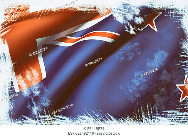 3d rendering of a New Zealand flag waving