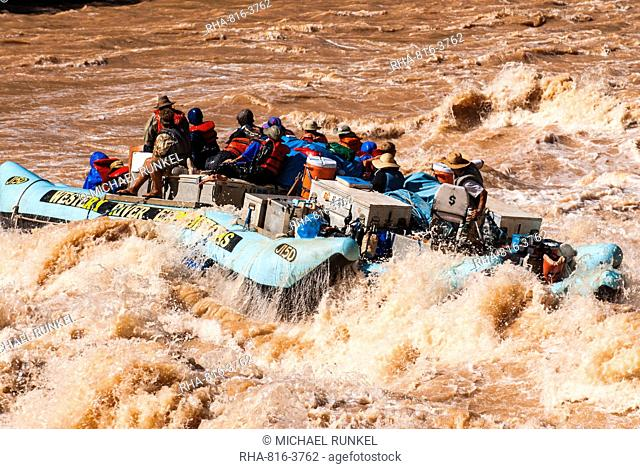 Rafting down the Colorado River through turbulent waters of the Grand Canyon, Arizona, United States of America, North America