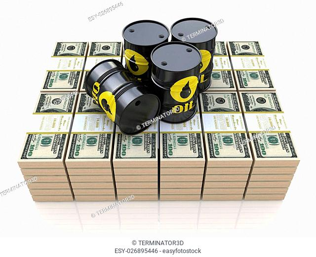 Barrels of oil on packs of dollars in the design of the information related to the sale of oil