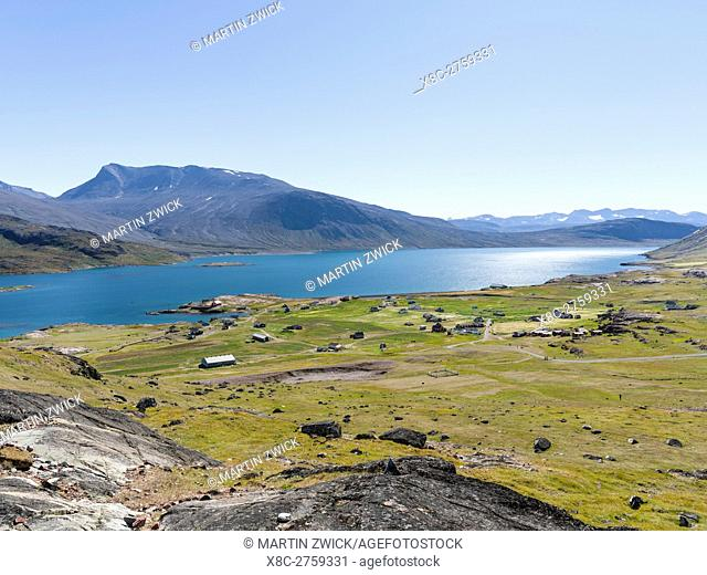 Village Igaliku (Gardar) on the shore of Einarsfjord in the South of Greenland. Gardar was diocesan town and cultural center for the norse (vikings) settling in...