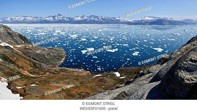 Greenland, East Greenland, Panoramic view of Fjord Sermilik
