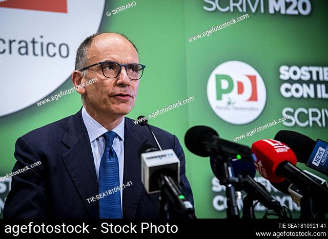 Press conference by the Secretary of the Democratic Party Enrico Letta, after the excellent electoral results obtained by the center left in the municipal...