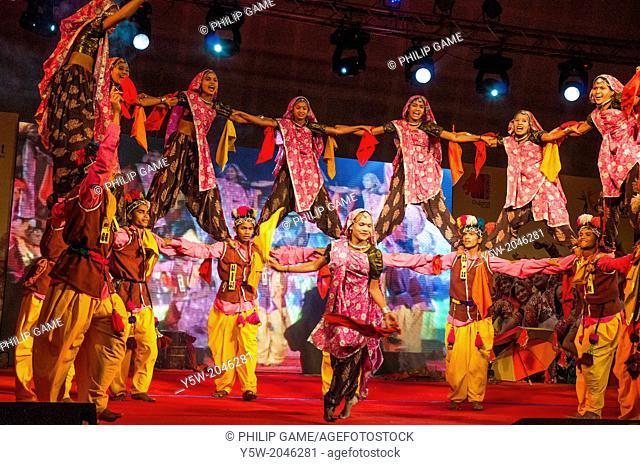 Gujarati dance performance at a trade exhibition in Ghandinagar, near Ahmedabad, India