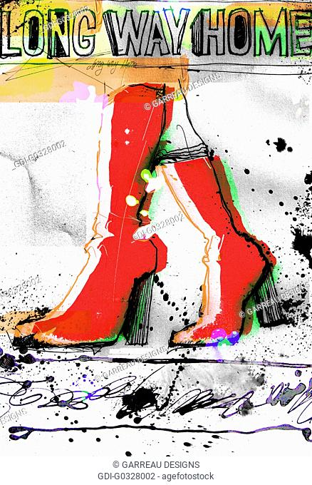 Red boots illustration