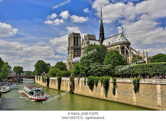 France, Europe, travel, Paris, City, Notre Dame, architecture, cathedral, catholic, gothic, history, boat, skyline, tourism, Unesco, religion