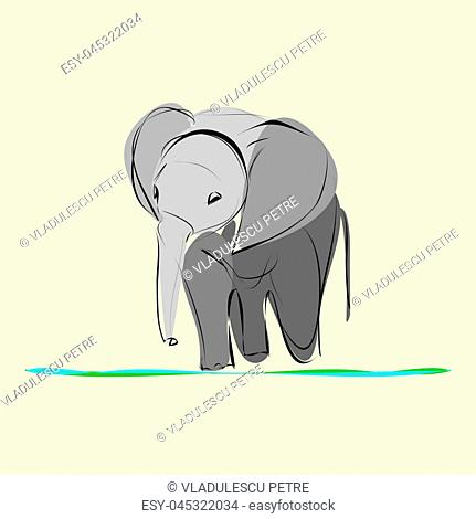 baby elephant go alone to drink water