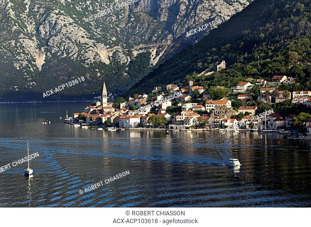 Coastal town of Perast on the banks of the Bay of Kotor in Montenegro. The town lies at the base of St. Elijah Hill which reaches 873 metres in height