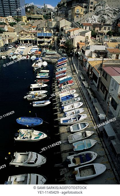 Private boats moored in Vallon des Aufes, a small sea port in Marseille, France