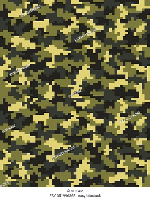 Seamless pattern of digital green camouflage, vector