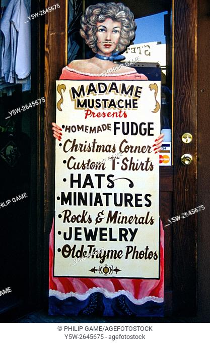 Olde-worlde sign advertising a gift and souvenir store in the Wild West town of Tombstone, Arizona, USA