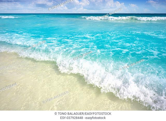 Caribbean turquoise beach in Riviera Maya of Mayan Mexico