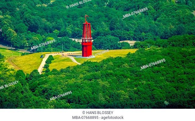 Aerial view, 'The Geleucht' miner's lamp, art object by Otto Piene on the tip Rheinpreussen, Landmark, Moers, Lower Rhine, North Rhine-Westphalia, Germany