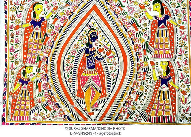 Madhubani Painting , Lord Krishna playing bansi or bansuri