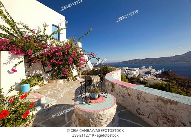 View from a house in Castro to the town center called Plaka, Milos, Cyclades Islands, Greek Islands, Greece, Europe