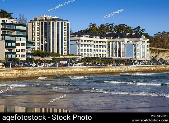 Hotel El Chiqui, Sardinero beach. Santander, Cantabrian Sea. Cantabria, north Spain. Europe