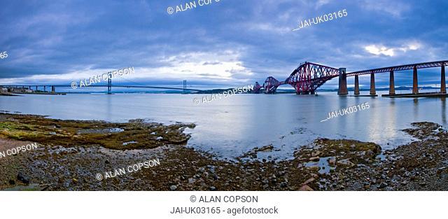 UK, Scotland, Edinburgh, Firth of Forth, The Forth Road and Rail Bridges