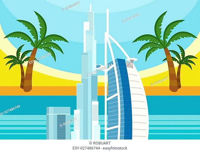 United Arab Emirates travelling banner. Landscape with traditional arabic landmarks. Skyscrapers and private buildings. Nature and architecture