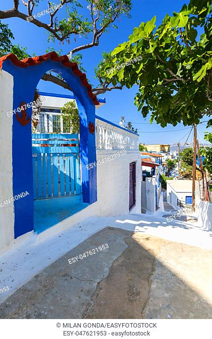 Street in Thymaina village in Fourni Korseon, Greece.