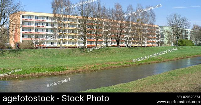 Standardized block of flats in East Germany. Panorama