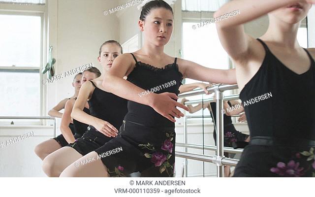young ballerinas in a row