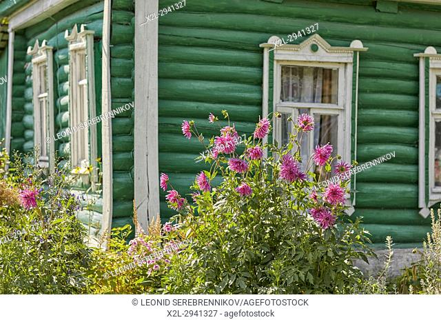 Wooden country house. Kaluga Region, Central Russia