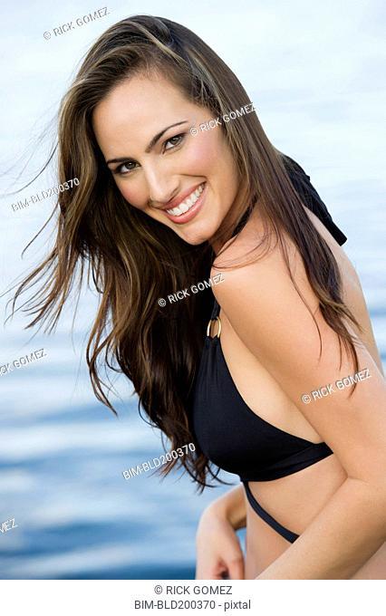 Hispanic woman in bikini