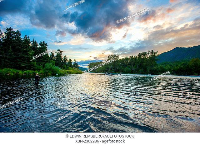 Scenic landscape of Russian River in Kenai Peninsula, Alaska, USA