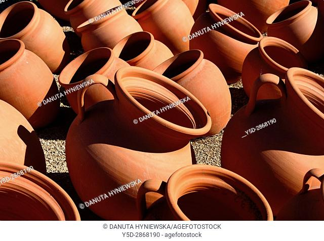 Europe, Portugal, Southern Portugal , Algarve region , Faro district , Portuguese traditional huge clay pitchers for sale
