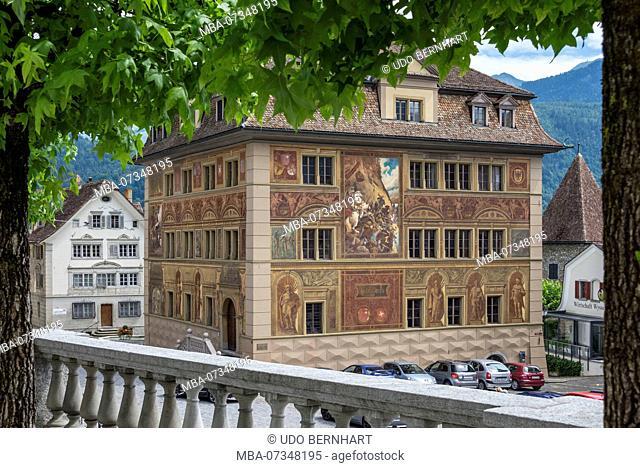 Town Hall historicist facade painting by Ferdinand Wagner, main square, Schwyz, Canton Schwyz, Switzerland