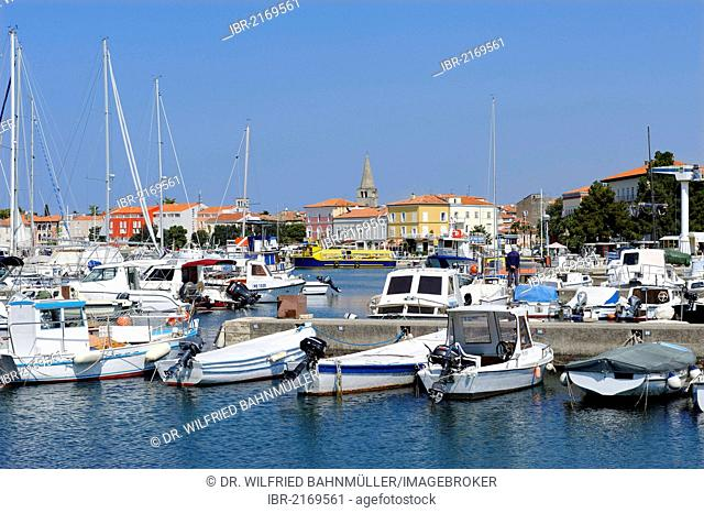Harbour with the old town at back, Porec, Istria, Croatia, Europe
