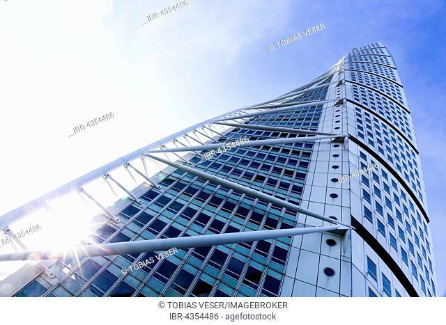 Modern high-rise building, Turning Torso, architect Santiago Calatrava, Malmö, Sweden