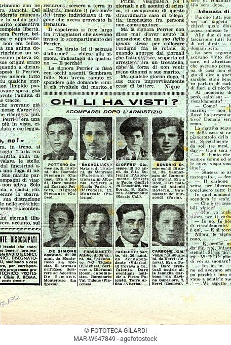 SECONDA GUERRA MONDIALE dettaglio da pagina de La Domenica del Corriere, settimanale illustrato, dove veniva pubblicata la rubrica 'Chi li ha visti? scomparsi...