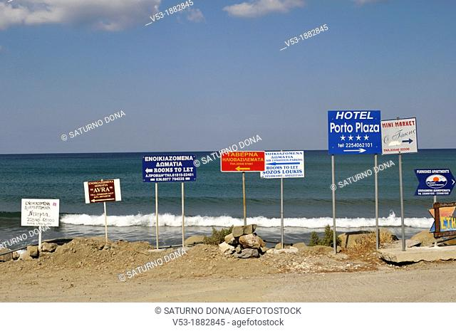 Advertising signposts by the coast of Limnos Island, Greece