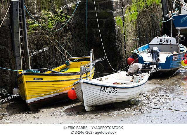 Fishing boats tied up Gourdon Harbour Scotland UK