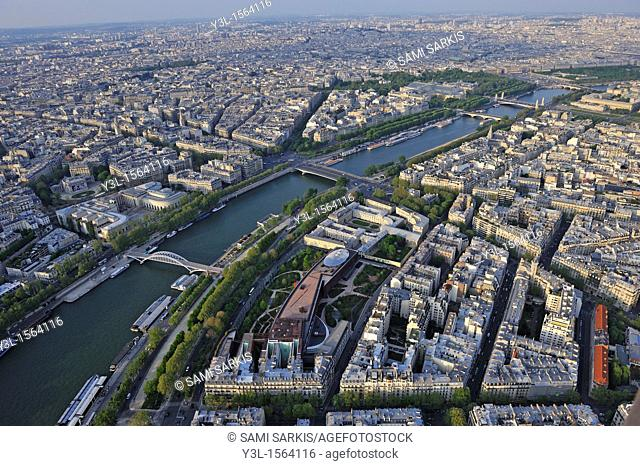 Paris and the Seine river with the Museum of Quai Branly as seen from top of Eiffel Tower, Paris, France
