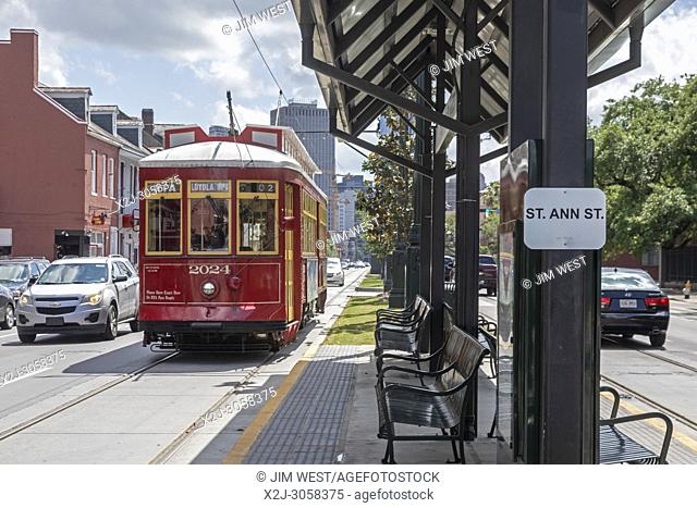 New Orleans, Louisiana - A New Orleans streetcar on North Rampart Street