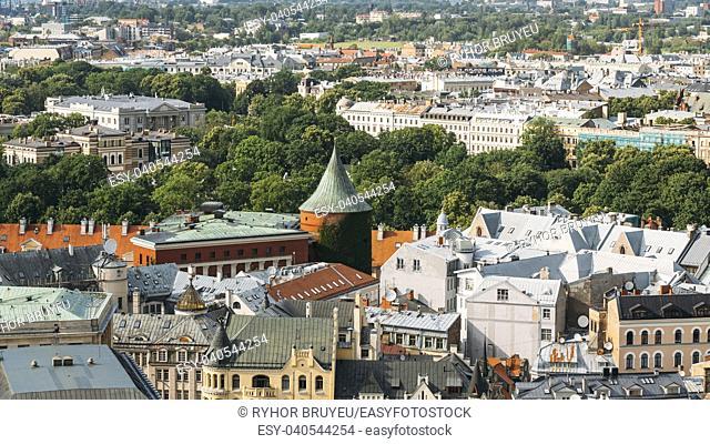 Riga, Latvia. Riga Cityscape In Sunny Summer Day. Famous Landmark - Powder Tower