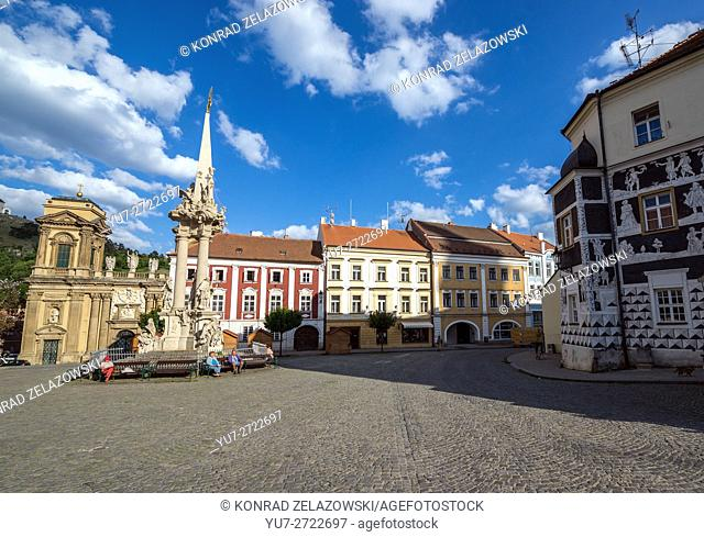 Dietrichstein tomb, Holy Trinity Statue (Plague Column) and Sgraffito house at central square in Mikulov town, Czech Republic