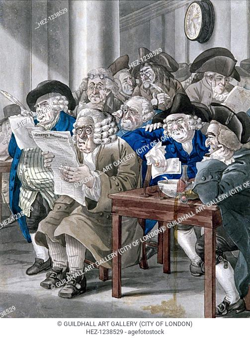 'Stock-Jobbers Extraordinary', c1795. Interior of the Stock Exchange, Bartholomew Lane, showing some members seated a around a table studying the Gazette...