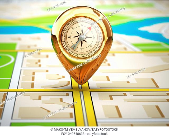 Navigation concept. Pin with compass on the city map. 3d