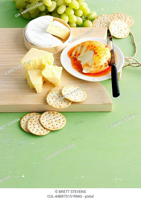 Plate of cheeses and crackers