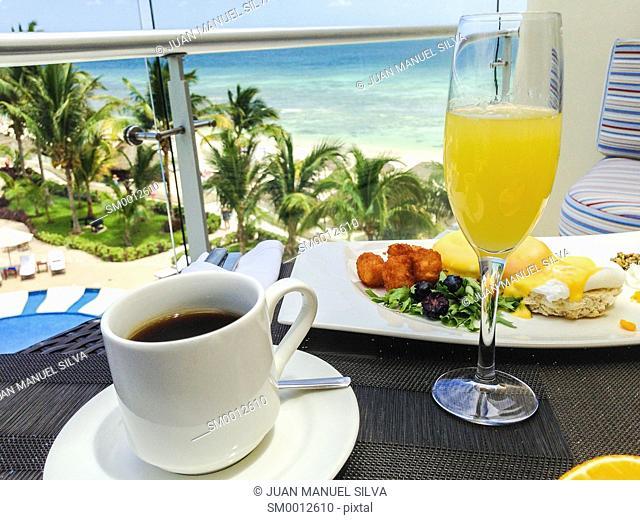 Breakfast on balcony by the sea, Riviera Maya